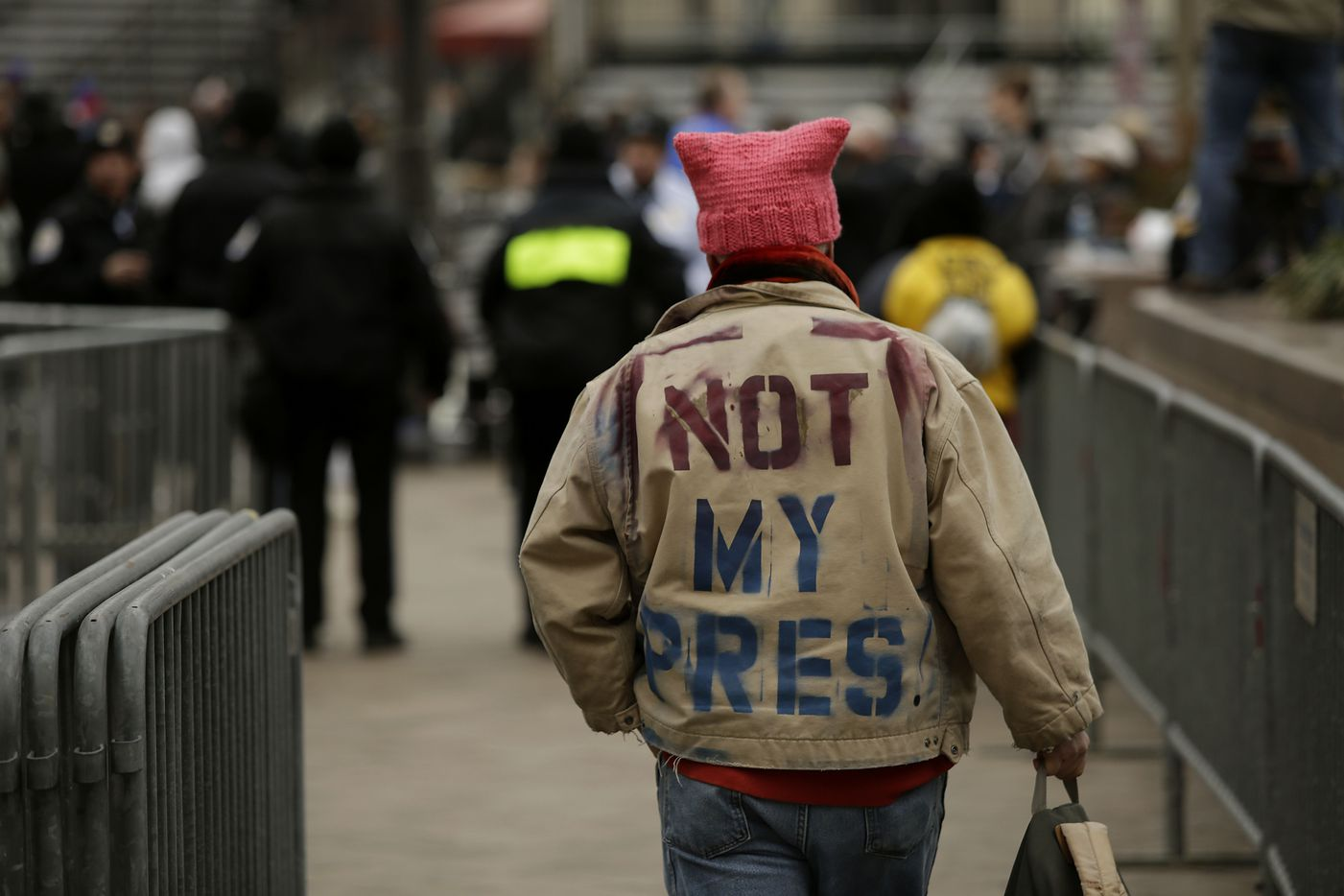 A man protests the Presidential Inauguration of Donald Trump on January 20, 2017 in Washington, DC.