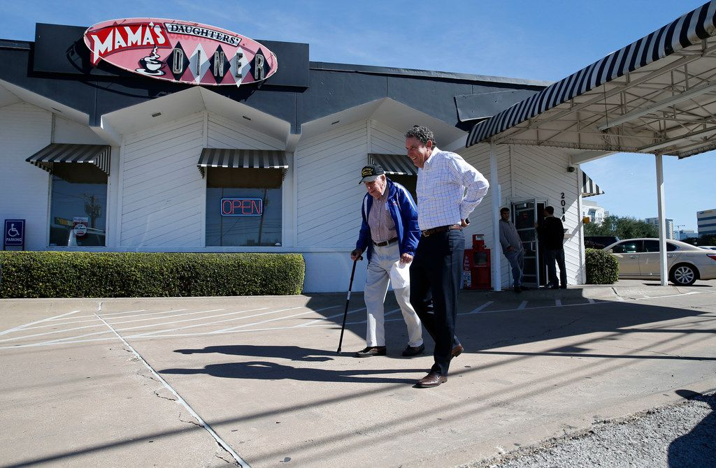 Chester Hollingsworth and son Chris Hollingsworth walk to the car after having lunch at Mama's Daughters' Diner  in Dallas.