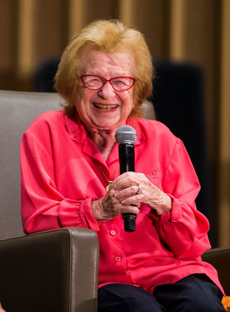 Dr. Ruth Westheimer is interviewed by WFAA's Jane McGarry at a fundraiser event for the Dallas Holocaust Museum Center.