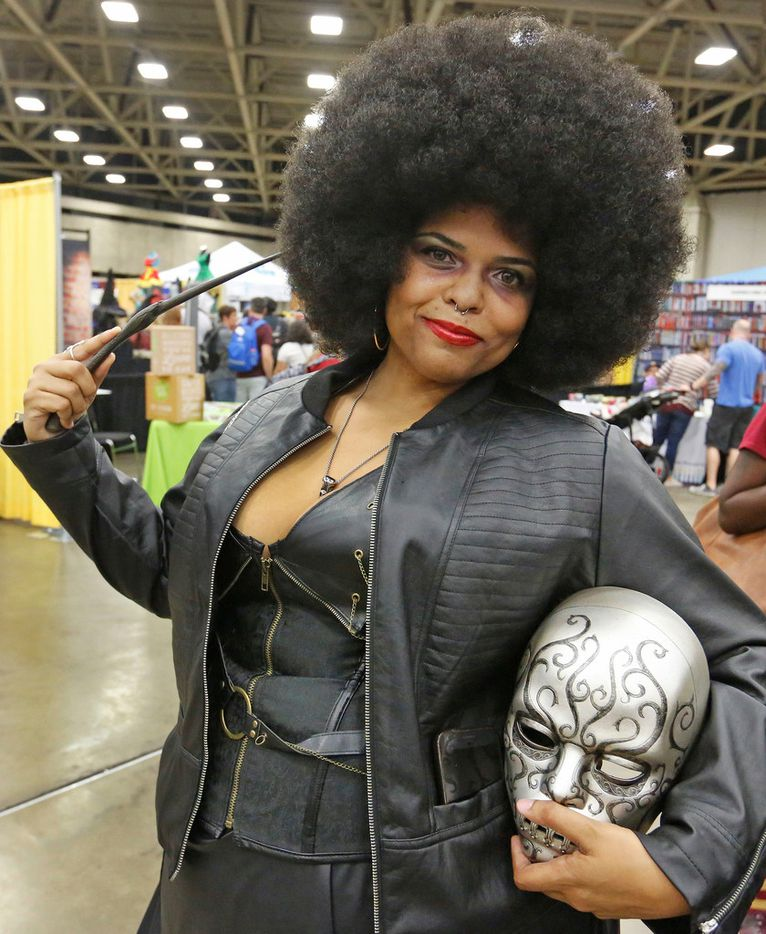 Kimberly Spence, dressed as Foxy Lestrange, is pictured at LeakyCon.