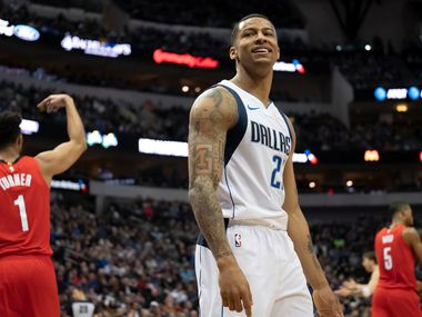 Dallas Mavericks guard Trey Burke reacts after bing called for a foul during the second half of an NBA basketball game against the Portland Trail Blazers at American Airlines Center on Sunday, Feb. 10, 2019, in Dallas.