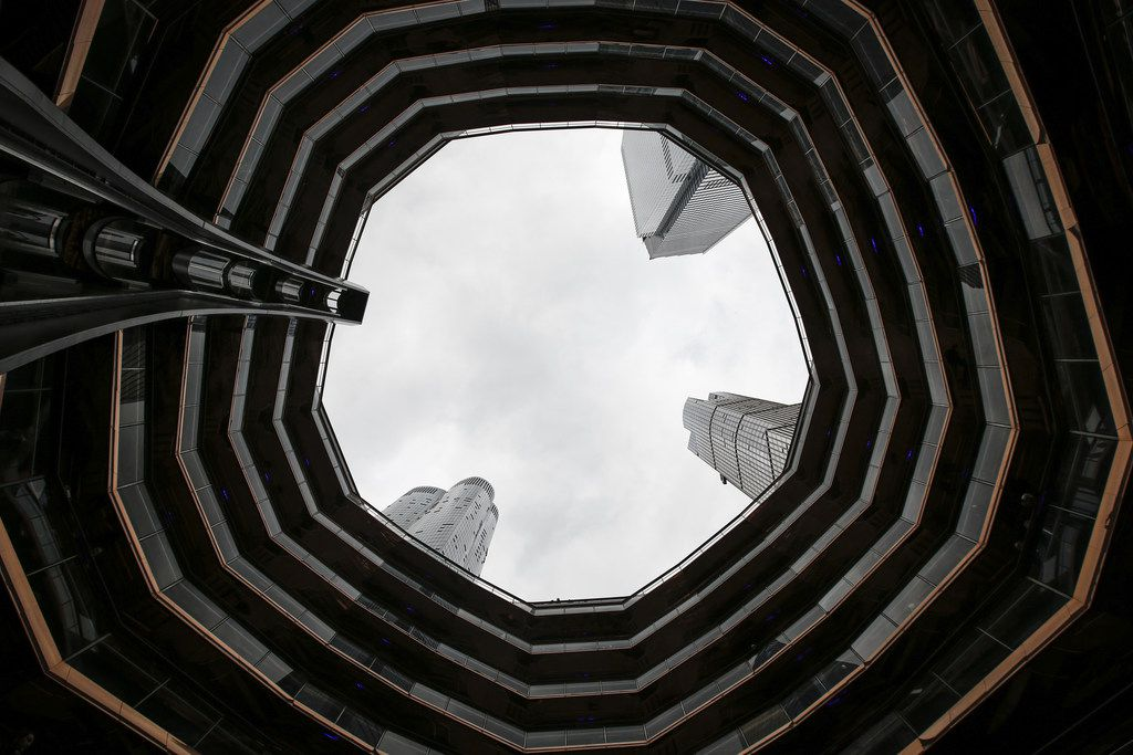 A view looking up inside 'The Vessel,' a public art structure consisting of 155 flights of stairs, on the opening day for Phase 1 of the Hudson Yards development on the West Side of Midtown Manhattan