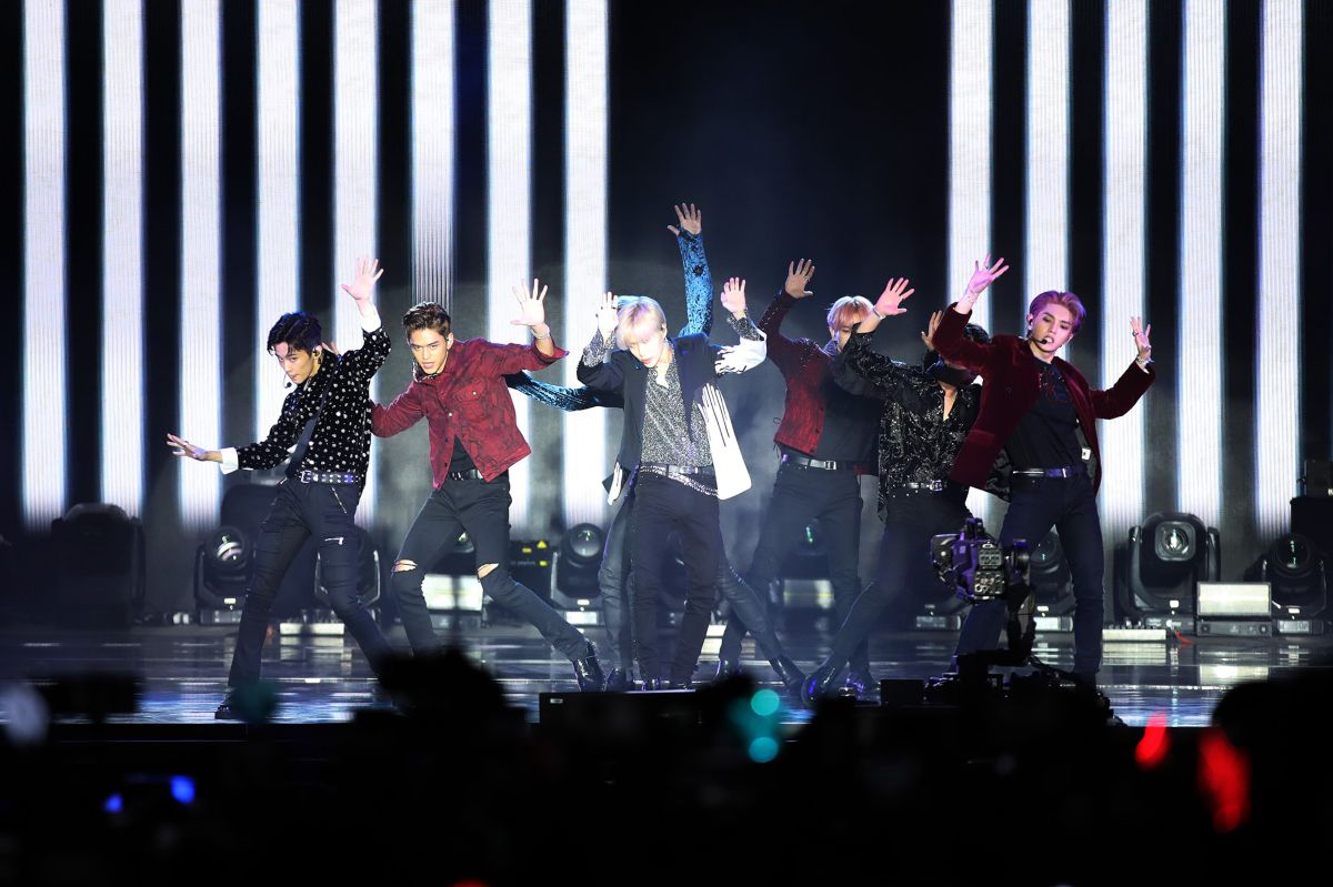 Members of the Korean pop supergroup SuperM perform in Los Angeles in 2019. Fans of K-pop will soon have a new Pink Box location at Frisco's Stonebriar Centre where they'll be able to find all kinds of albums, jewelry and other themed merchandise.