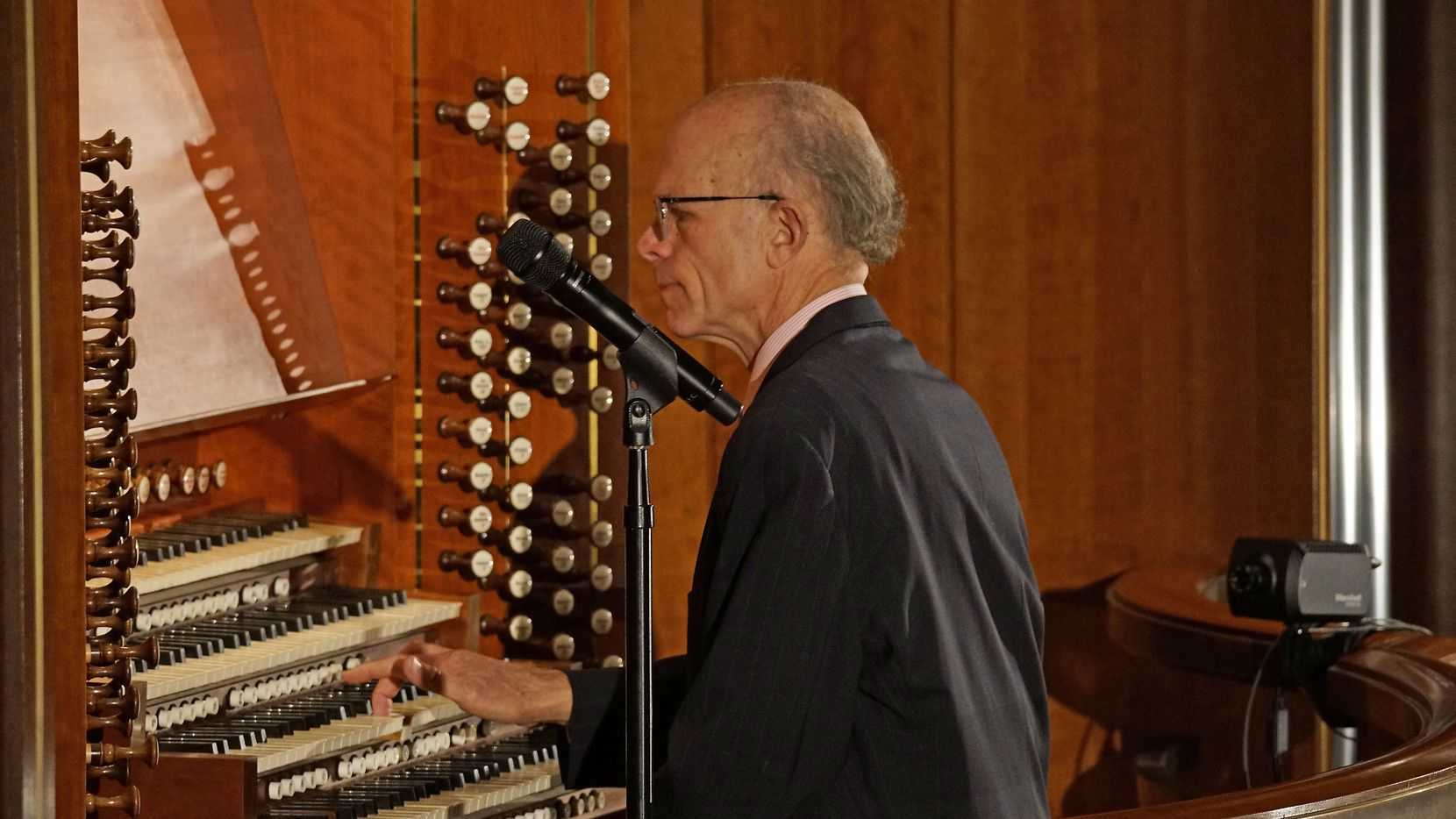 Organist Todd Wilson performs at the Meyerson Symphony Center in Dallas, Texas on Nov. 22, 2020.