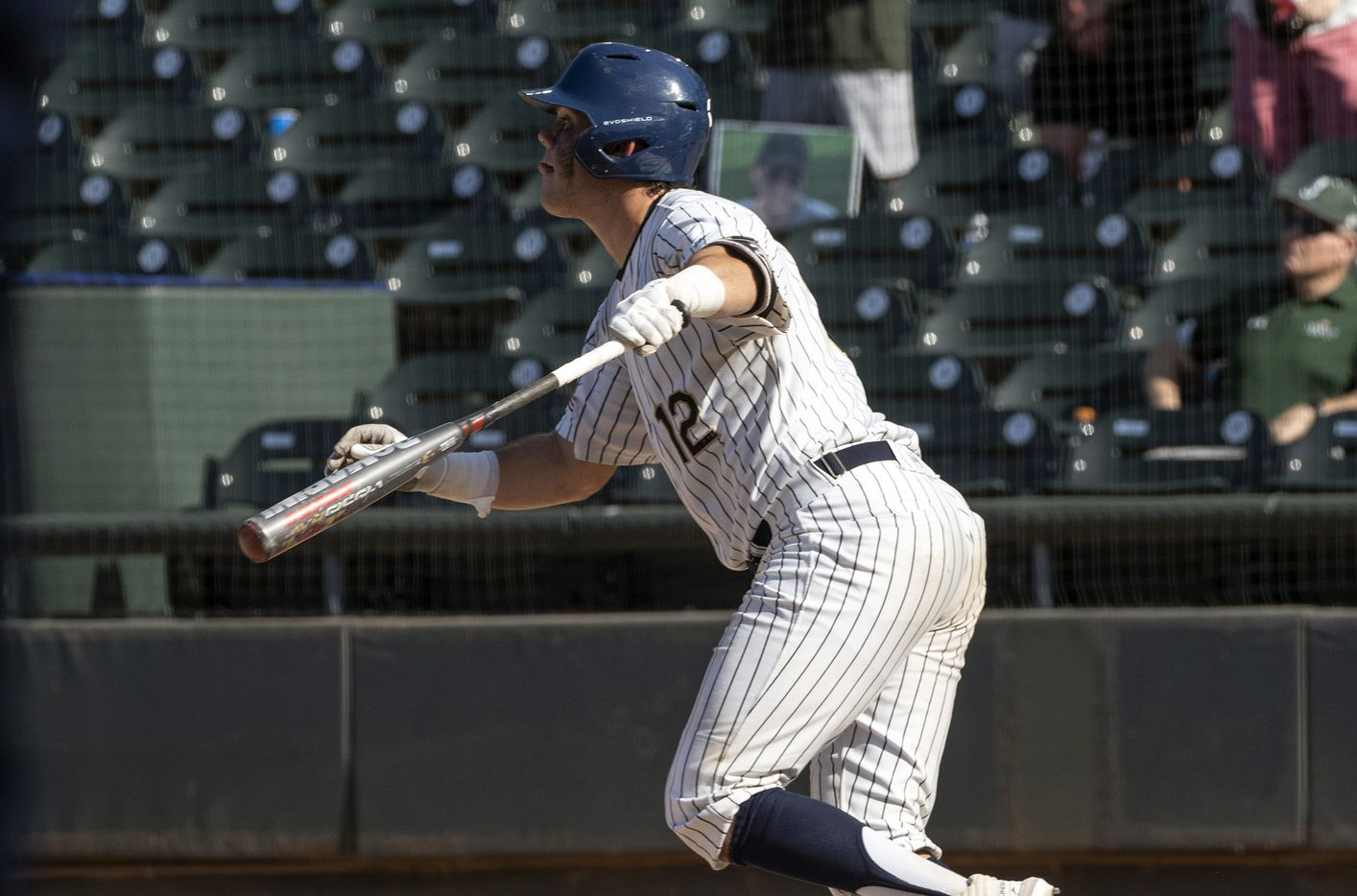 Keller Whit Thoms, (12), watches his RBI double against Houston Strake Jesuit during the fourth inning of the 2021 UIL 6A state baseball semifinals held, Friday, June 11, 2021, in Round Rock, Texas. Keller defeated Strake Jesuit 7-1.   (Rodolfo Gonzalez/Special Contributor)