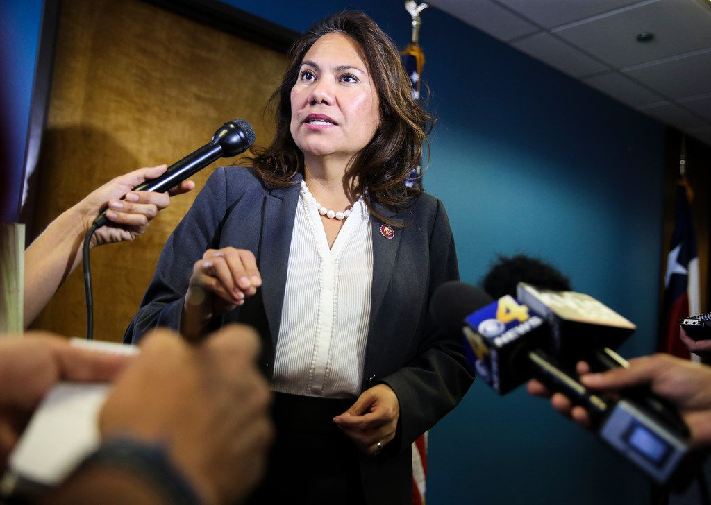 Rep. Veronica Escobar, D-Texas, speaks to the media during a new conference on Friday, March 29, 2019 in El Paso, Texas.