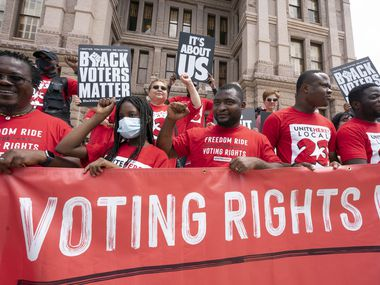 A coalition of voting rights groups including Black Voters Matter and the Texas Right to Vote Coalition rally at the Capitol to decry election bills being advocated by Gov. Greg Abbott.