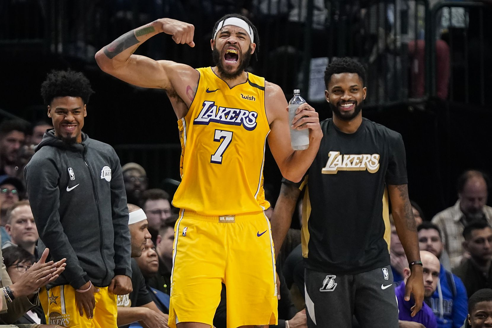 Los Angeles Lakers center JaVale McGee (7) celebrates a Lakers basket during the first half of an NBA basketball game against the Dallas Mavericks at American Airlines Center on Friday, Jan. 10, 2020, in Dallas.
