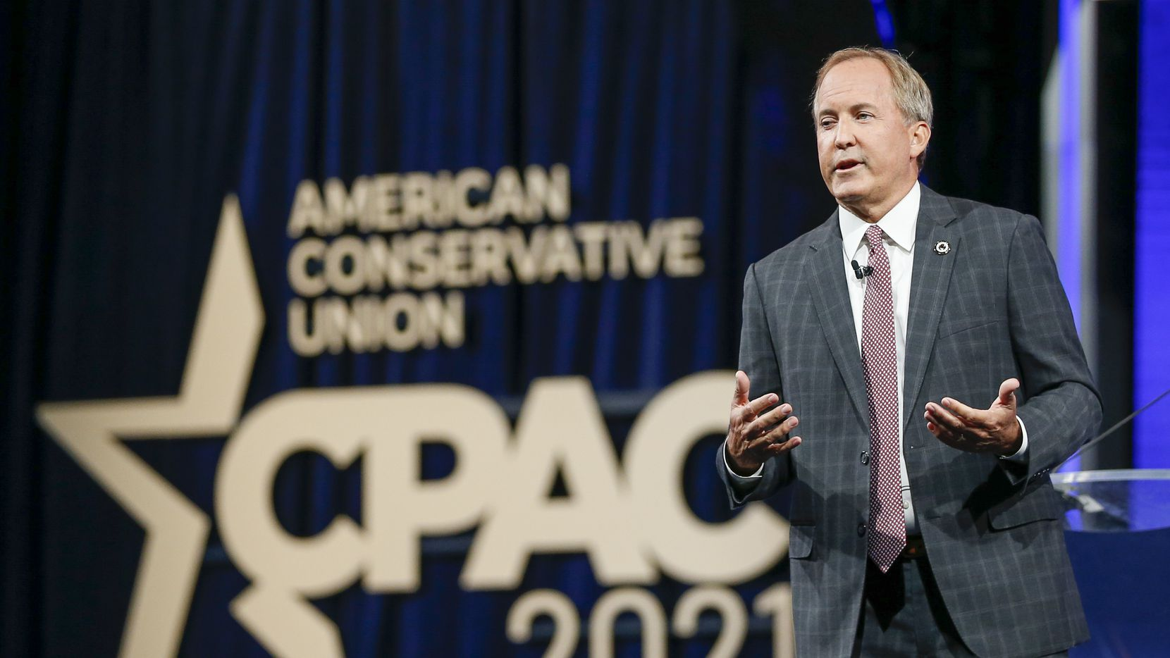 Texas Attorney General Ken Paxton gives remarks at the Conservative Political Action Conference on July 11, 2021, in Dallas.