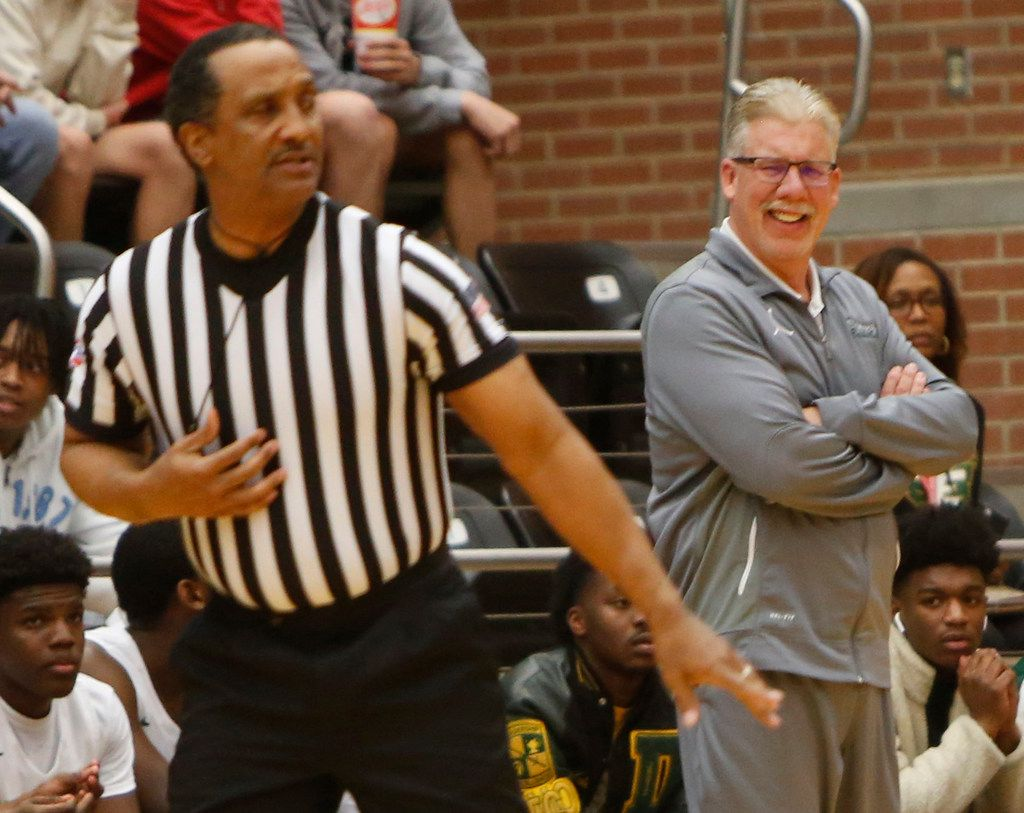 DeSoto head coach Chris Dyer reacts following the lack of a called foul during first half action against Richardson. The two teams played their Class 6A boys bi-district playoff basketball game at Forney High School in Forney on February 24 2020. (Steve Hamm/Special Contributor).
