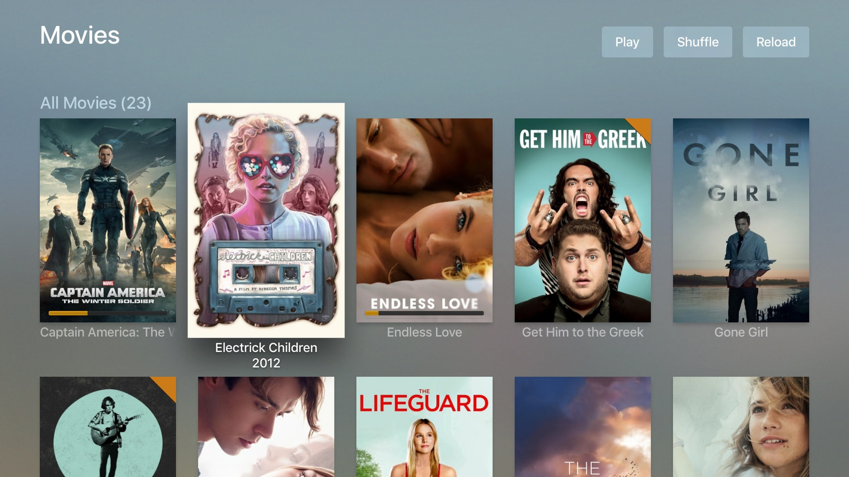Plex movies, shown on Apple TV