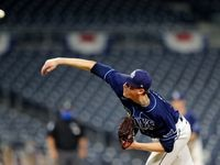 Pete Fairbanks #29 of the Tampa Bay Rays pitches during Game 2 of the ALDS between the New York Yankees and the Tampa Bay Rays at Petco Park on Tuesday, October 6, 2020 in San Diego, California.