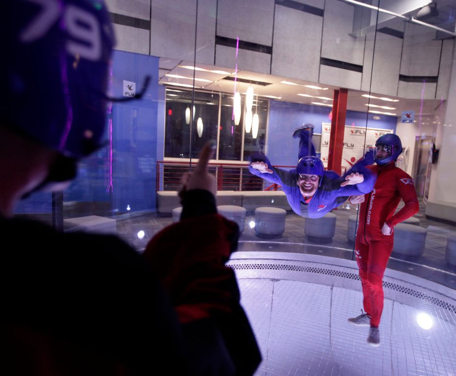 Britt Sogard, left, gives her date Brian Carman the thumbs up at iFly in Frisco.