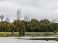 The downtown Dallas skyline emerges from a layer of low clouds as seen from Lake Cliff Park in Oak Cliff on Wednesday, Oct. 27, 2021. (Elias Valverde II/The Dallas Morning News)