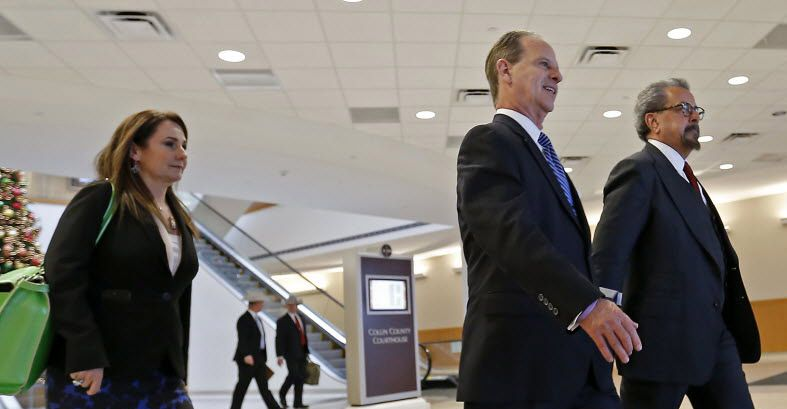 Special prosecutors Nicole DeBorde, Brian Wice and Kent Schaffer leave the Collin County courthouse following a December 2015 pretrial motion hearing regarding felony fraud charges against Texas Attorney General Ken Paxton.