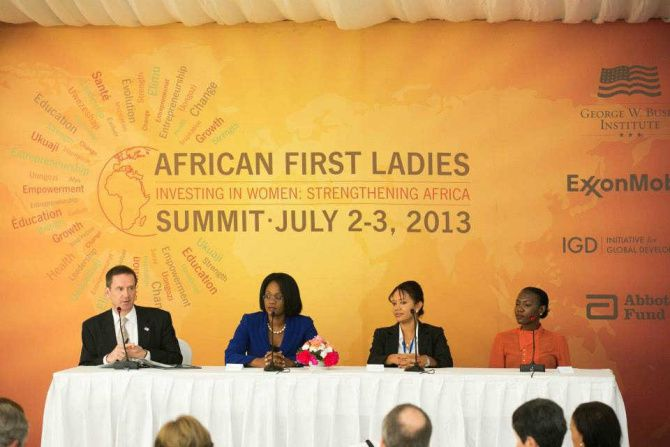 Mark Green, U.S. ambassador to Tanzania, joined three entreprenuers for a panel discussion at the George W. Bush Institute's African First Ladies Summit in Dar es Salaam, Tanzania, on July 2. Exxon Mobil helped sponsor the summit.