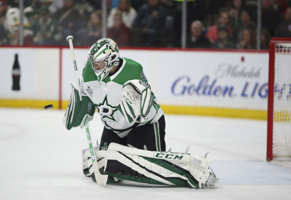 Minnesota Wild right wing Mikael Granlund's first-period shot evades Dallas Stars goaltender Kari Lehtonen to tie the game, 1-1, on Thursday, March 29, 2018, at Xcel Energy Center in St. Paul, Minn. (Jeff Wheeler/Minneapolis Star Tribune/TNS)