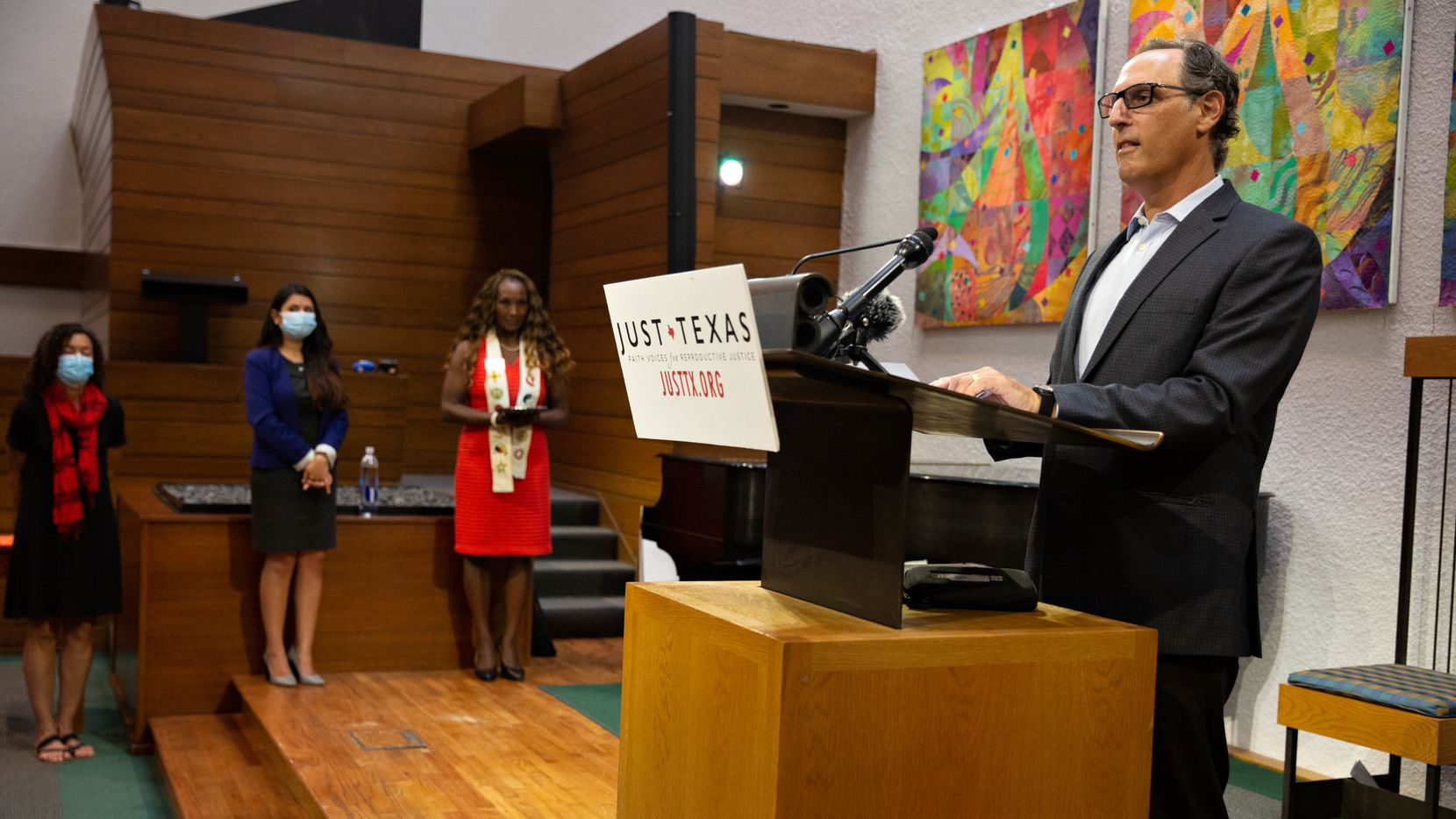 Reverend Daniel Kanter speaks at a press conference held by Just Texas to announce the The Reproductive Freedom Congregation Designation at First Unitarian of Dallas on August 25, 2021. The designation is an initiative by Texas congregations to rid the stigma, shame, and judgment involving women's reproductive decisions.  (Shelby Tauber/Special Contributor)