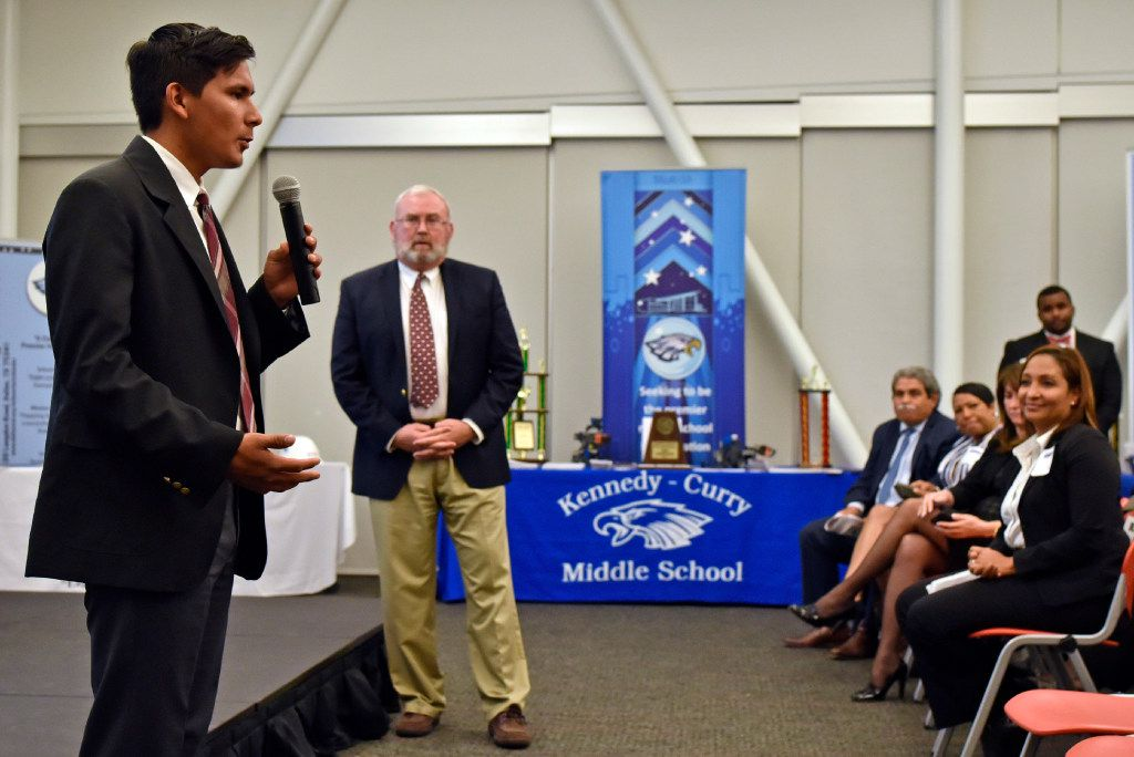 Josue Uriel Trejo Jasso, a senior at International Leadership of Texas, speaks about his experience at the charter school during a Dallas Independent School District charter school forum at Highland Hills Library in Dallas in 2016. ILT founder and Superintendent Eddie Conger (center) introduced Jasso at the forum. ILT's zoning request was denied in 2016. They'll try again Thursday.