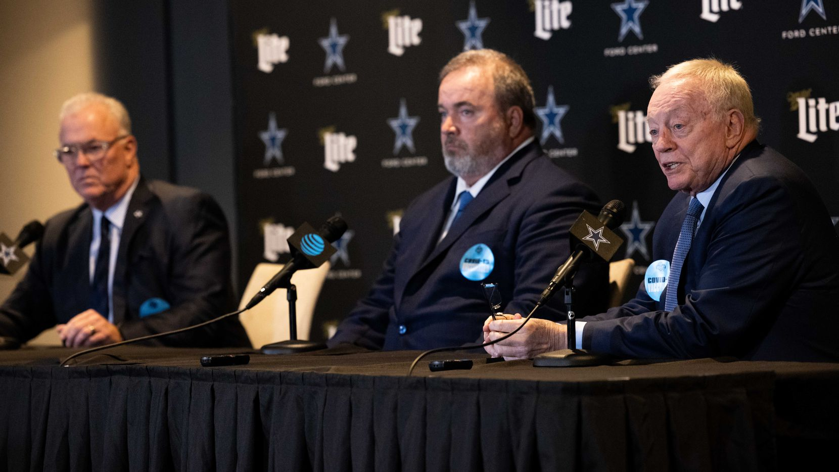 (From left) Dallas Cowboys CEO Stephen Jones, coach Mike McCarthy and Dallas Cowboys owner Jerry Jones speak at a press conference following their decision to take Micah Parsons during the NFL draft at the Star on Thursday, April 29, 2021, in Frisco.