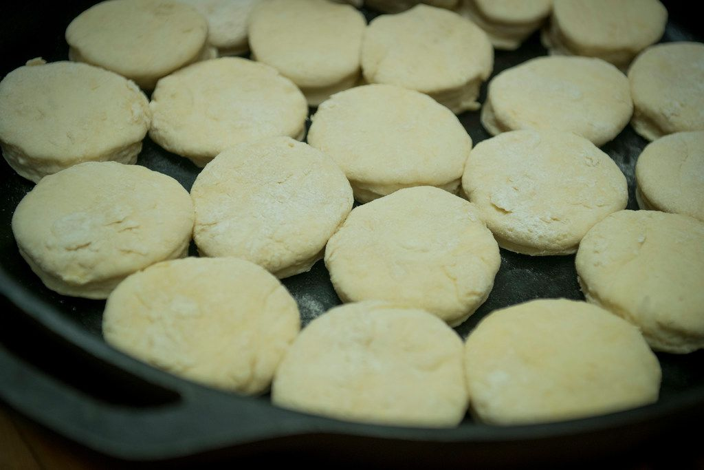 Mike Newton's, light and flaky yeast biscuits ready for the oven in one of his favorite cast-iron skillets. Newton is known as the Cowboy Chef, and lives with his wife Melanie in their ranch house in Lipan, Texas on July 17, 2018. (Robert W. Hart/Special Contributor)