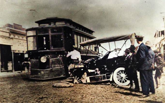 A car and a trolley collided in Dallas' early days. The city was a hazardous place in 1904.