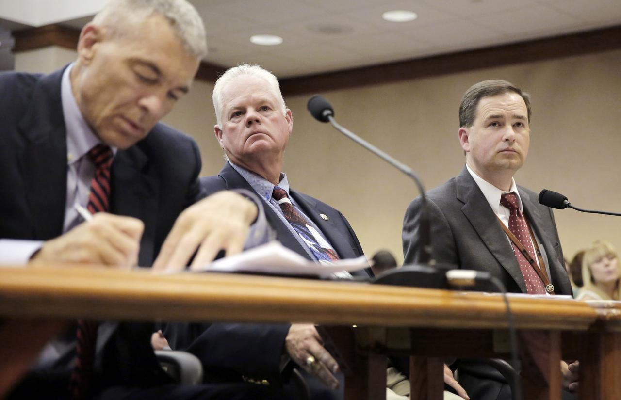 From left: Department of Public Safety Director Steve McCraw, Limestone County Sheriff Dennis Wilson and Texas Commission on Jail Standards leader Brandon Wood testified Thursday in Austin.