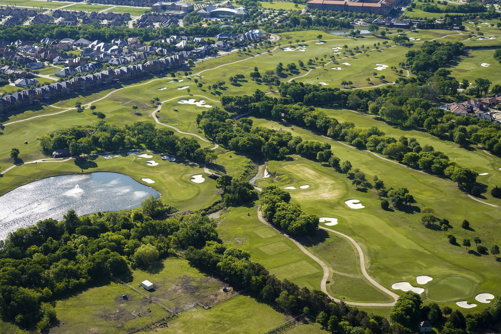 FILE - An aerial view of the TPC Craig Ranch golf course on Thursday, April 16, 2020, in McKinney.