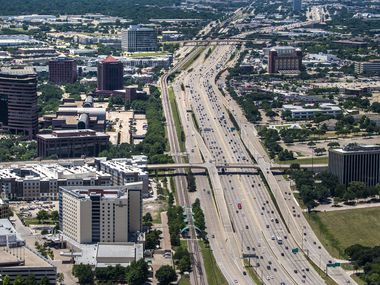 Vehicles travel on U.S. Highway 75 in Richardson, Texas, on Thursday, June 18, 2020. (Lynda M. Gonzalez/The Dallas Morning News)