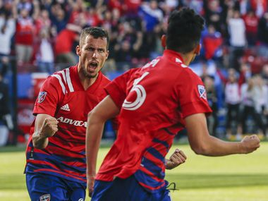 FC Dallas defender Matt Hedges (24) celebrates after a goal by forward Ricardo Pepi during the second half of an MLS matchup between FC Dallas and Montreal Impact on Saturday, March 7, 2020 at Toyota Stadium in Frisco, Texas.