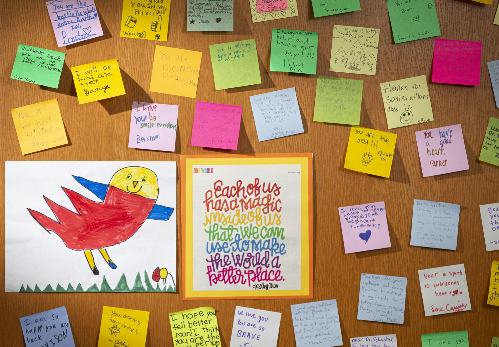 Students wrote 'get well soon' post-it notes and placed them on the office door of Sarah Schecter, head of the lower school, at The Oakridge School in Arlington, Monday, February 3, 2020.  Schecter donated a kidney to Nate Jones, a father to three students attending the school. (Brandon Wade/Special Contributor)
