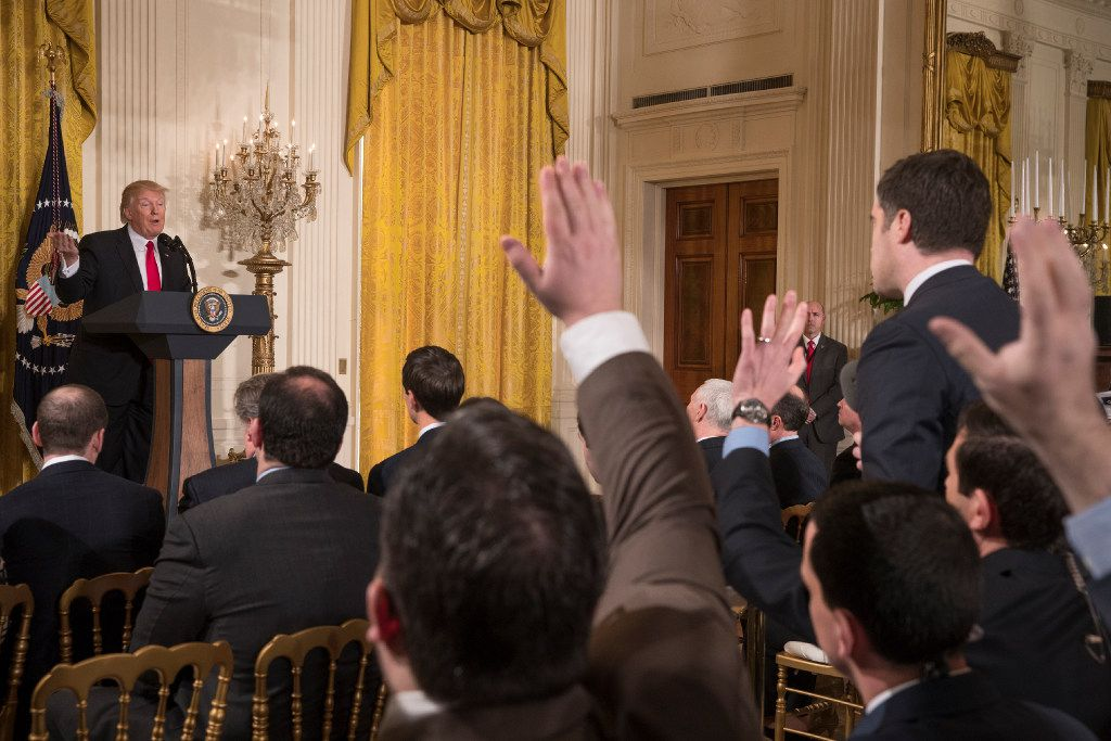 President Donald Trump speaks Thursday in the East Room of the White House. Many observers around the world have reacted with anxiety, disbelief and humor to the rambling and defiant 77-minute news conference.