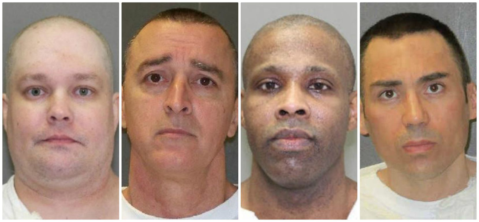 The four men sent to Texas' death row in 2017 (from left): William Hudson, who killed six people on a camping trip in Anderson County; John Falk, whose escape from a Huntsville-area prison led to the death of a correctional officer; Joseph Colone, who killed a Beaumont woman and her 16-year-old daughter; and Billy Tracy, who beat a prison guard to death at the Telford Unit.