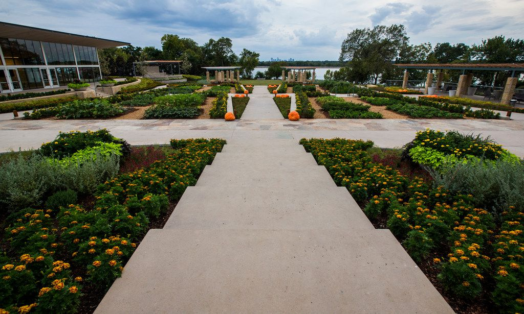 The new Tasteful Place edible garden at the Dallas Arboretum overlooks White Rock Lake and the Dallas skyline.