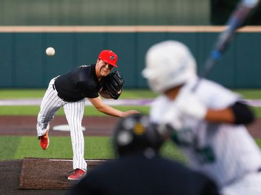 Argyle pitcher Chad Ricker throws a pitch during a playoff game against Iowa Park in Abilene Wednesday, May 29, 2019. (Photo by Gary Rhodes)