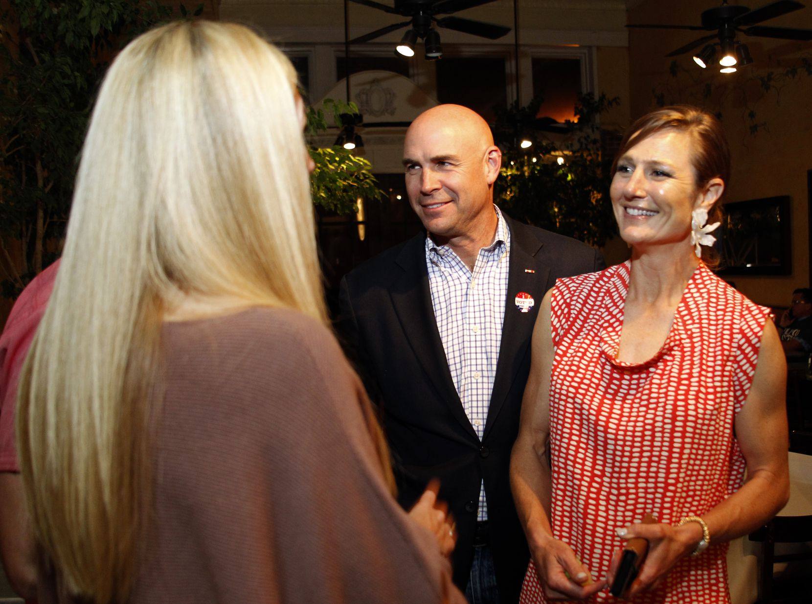 6th Congressional District candidate Jake Ellzey, along with wife Shelby, visited with supporters during Ellzey's election night party on May 1 at Dove Nest Restaurant in Waxahachie.