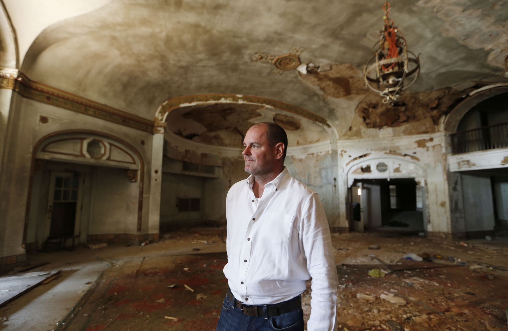 Developer Laird Fairchild standing in the lobby in the Baker Hotel in Mineral Wells. A group of investors plans to renovate the landmark as a destination hotel for weddings, meeting and tourists.