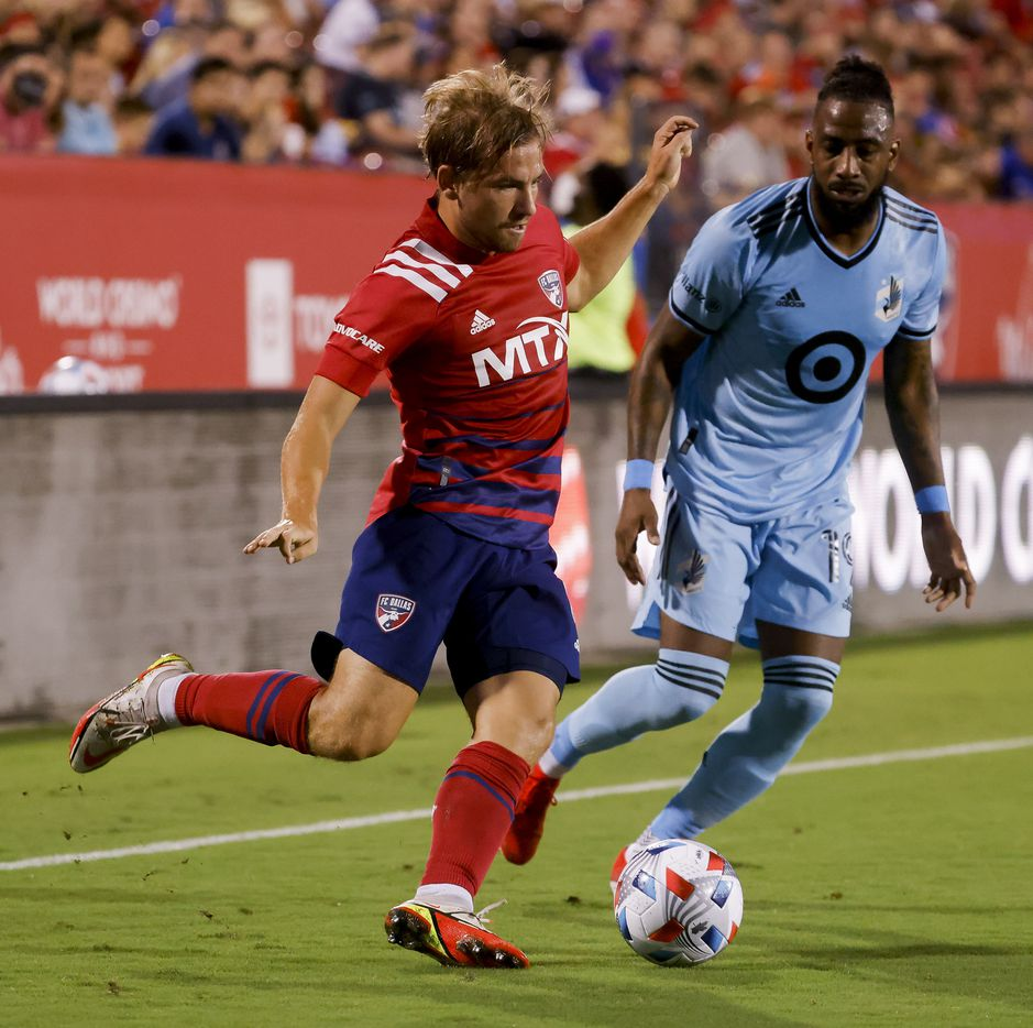 FC Dallas midfielder Paxton Pomykal (19) battles Minnesota United defender Romain Metanire (19) for the ball during the first half of a game on Saturday, Oct. 2, 2021, at Toyota Stadium in Frisco. (Juan Figueroa/The Dallas Morning News)