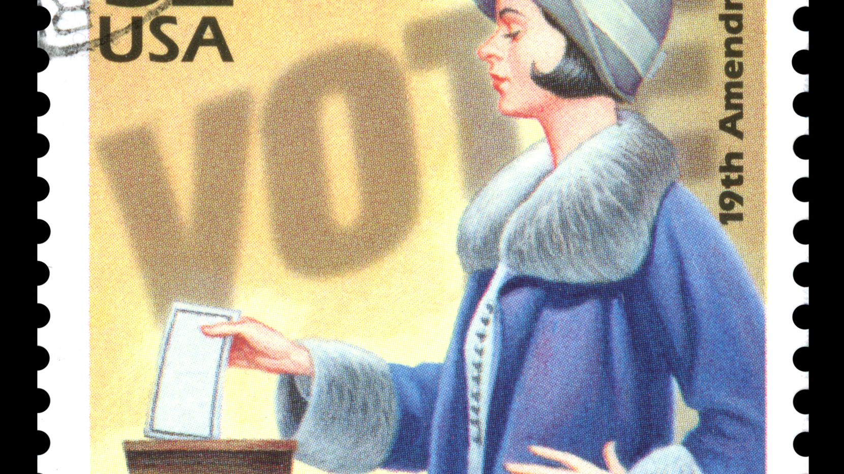 USA vintage postage stamp showing an image of a woman voting in the 1920s commemorating women's suffrage
