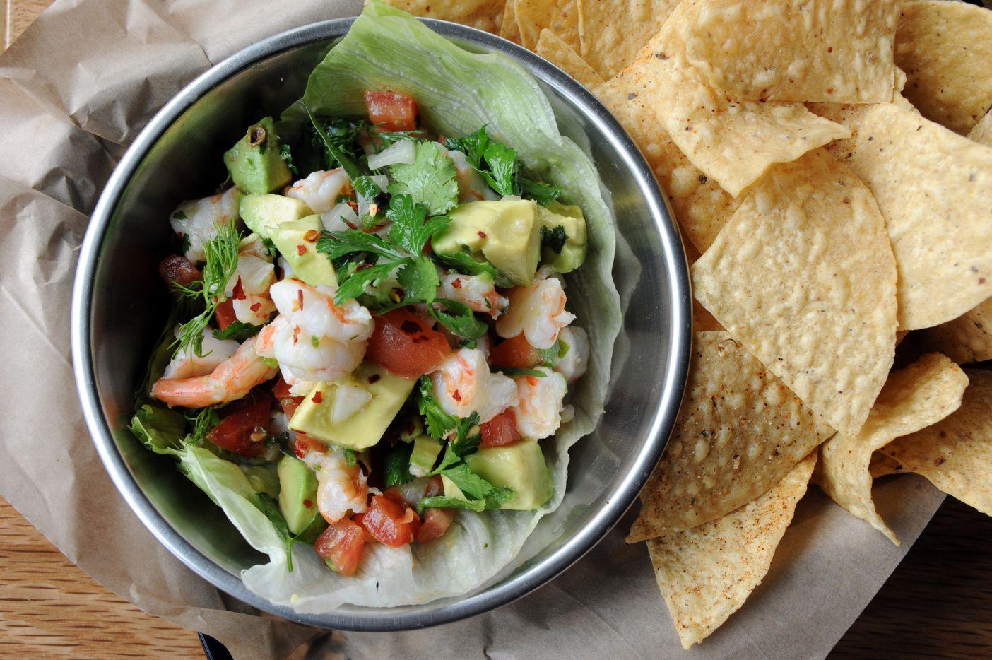 The gulf shrimp ceviche features pico de gallo, avocado, and grapefruit-lime vinaigrette at Spork in Far North Dallas, TX on March 15, 2015. (Alexandra Olivia/ Special Contributor)