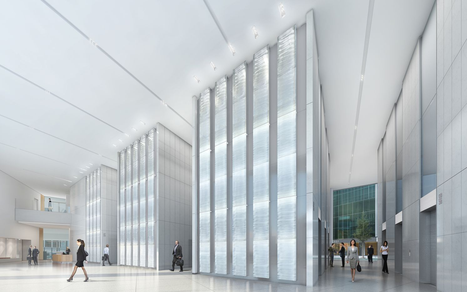 New lobby plans for Fountain Place raise the ceiling, add more clear glass on the exterior and feature art glass walls by James Carpenter.