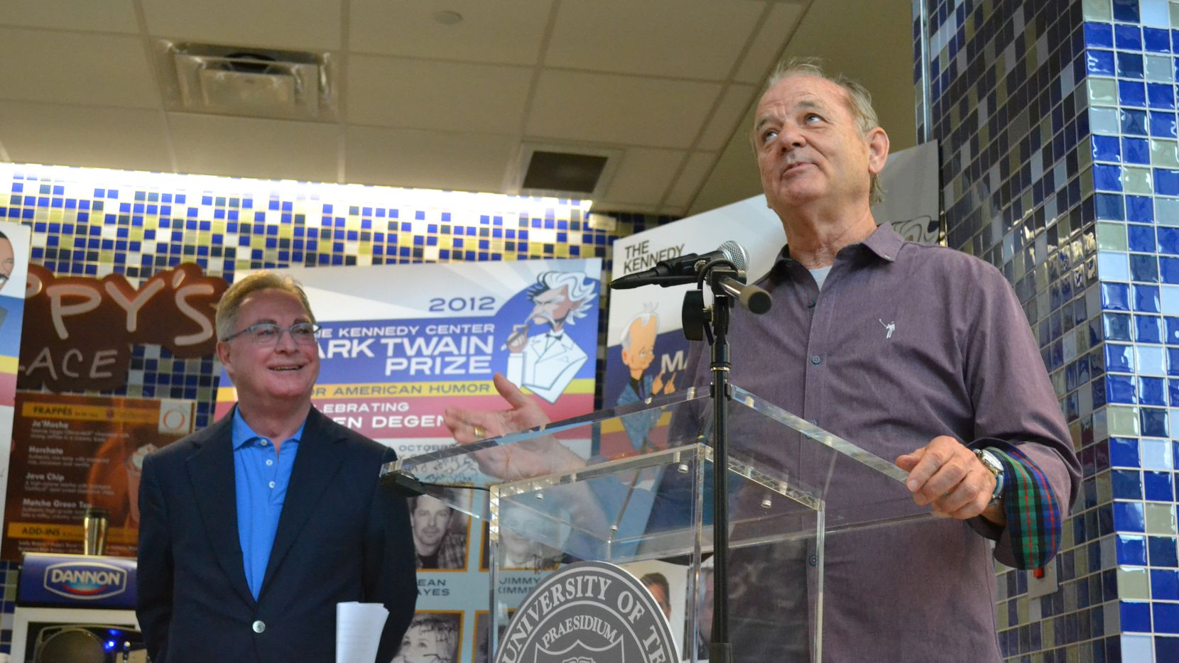Cappy McGarr listened as the comic Bill Murray spoke Saturday at an Austin  ceremony where McGarr donated six posters done for the Kennedy Center Mark Twain Prize for American Humor. The posters, each autographed by multiple comedians, will reside at the University of Texas' Harry Ransom Center.