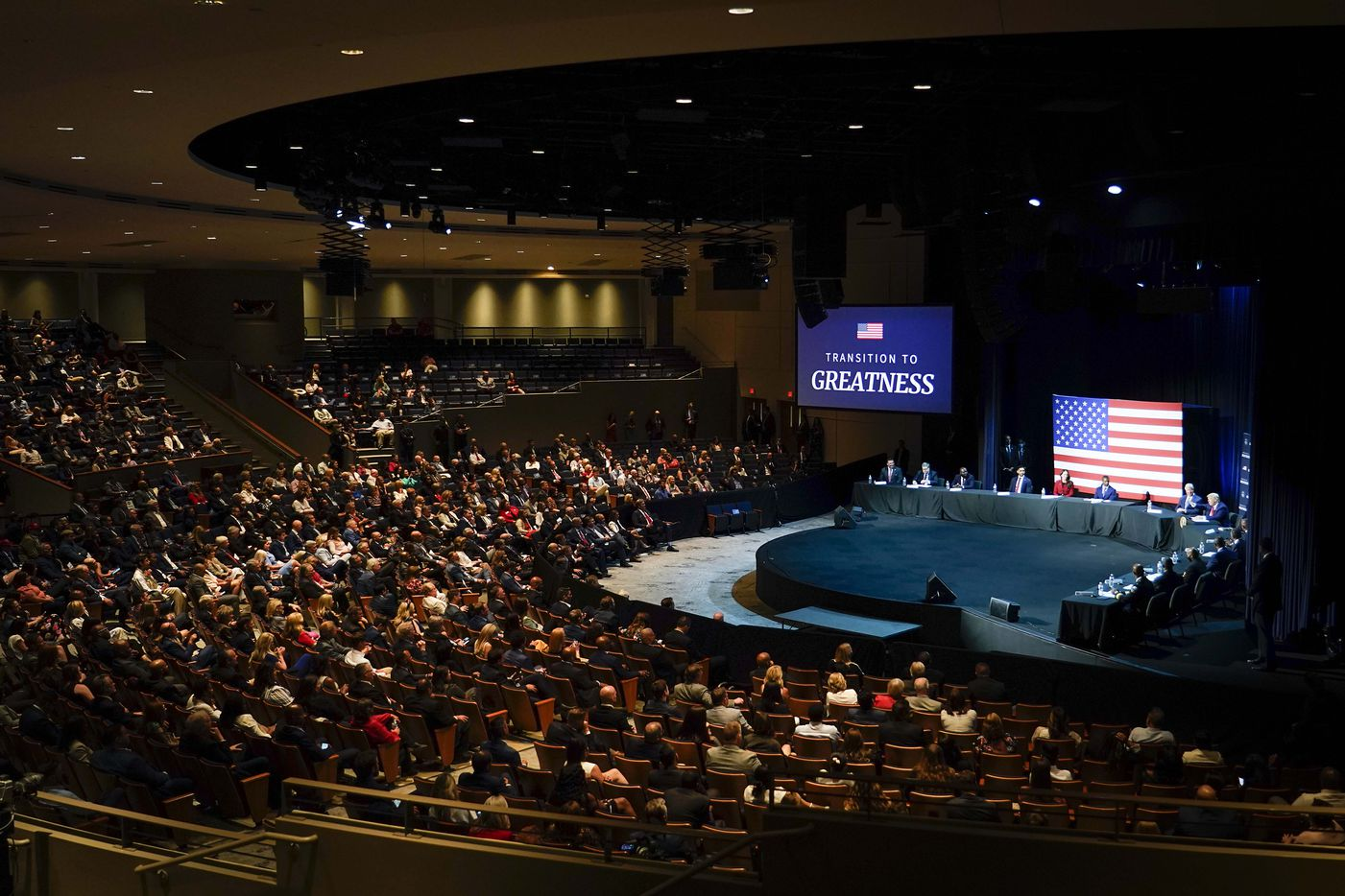 Most seats in the main floor seating area were filled with attendees side-by-side, as President Donald Trump speaks during a roundtable conversation about race relations and policing at Gateway Church Dallas Campus on Thursday, June 11, 2020, in Dallas.