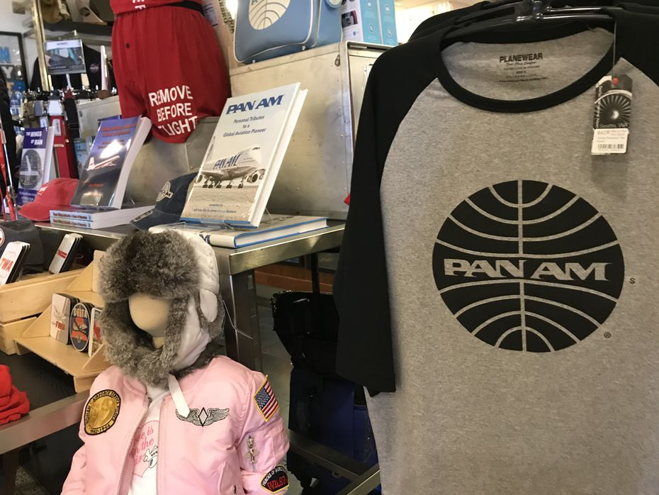 A shop at SeaTac International Airport featuring Pan Am Airways merchandise. The original iteration of the airline went out of business in 1991.