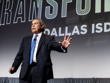 Superintendent Michael Hinojosa spoke during Dallas ISD's annual state of the district address at the Omni Hotel in Dallas on Feb. 21, 2020.