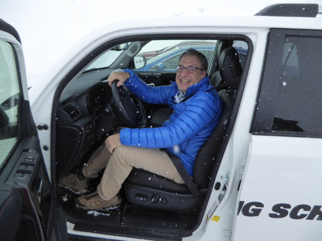 The author Larry Bleiberg at the Bridgestone Winter Driving School in Steamboat Springs, Colo.