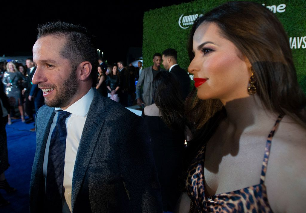 Mavs player J.J. Barea and companion pause on the blue carpet prior to the Mavs Ball Million Air in Addison, Texas on March 7, 2020. (Robert W. Hart/Special Contributor)