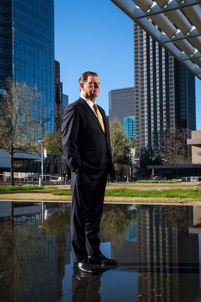 Dallas Mayor Mike Rawlings photographed outside the Winspear Opera House in the Dallas Arts District on March 21, 2019.