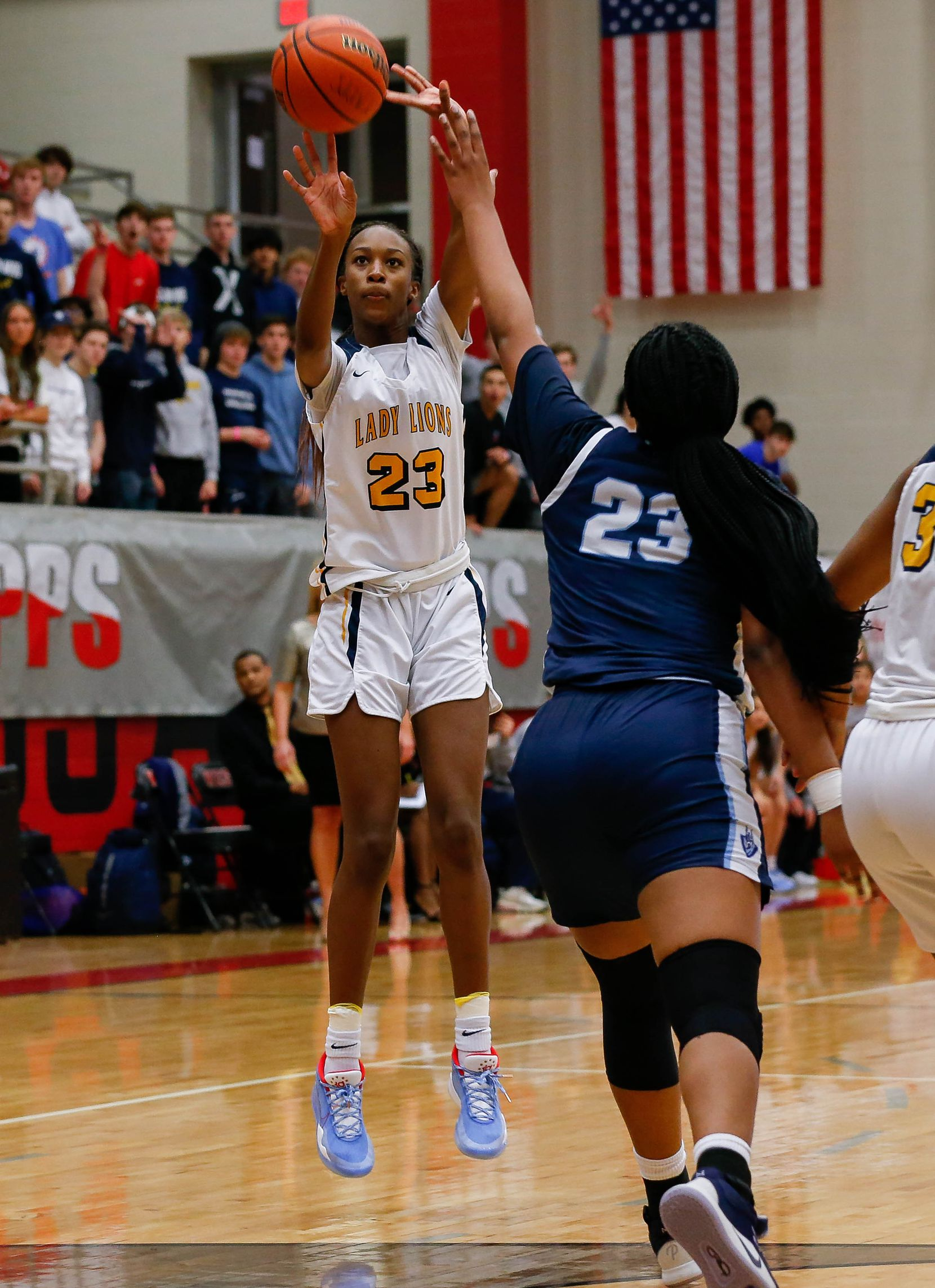 Plano Prestonwood Christian's Kiersten Johnson (23) shoots during the first half of a TAPPS Class 6A girls basketball state championship game against the Village School on Feb. 28, 2020 in West. Prestonwood lost 75-48.