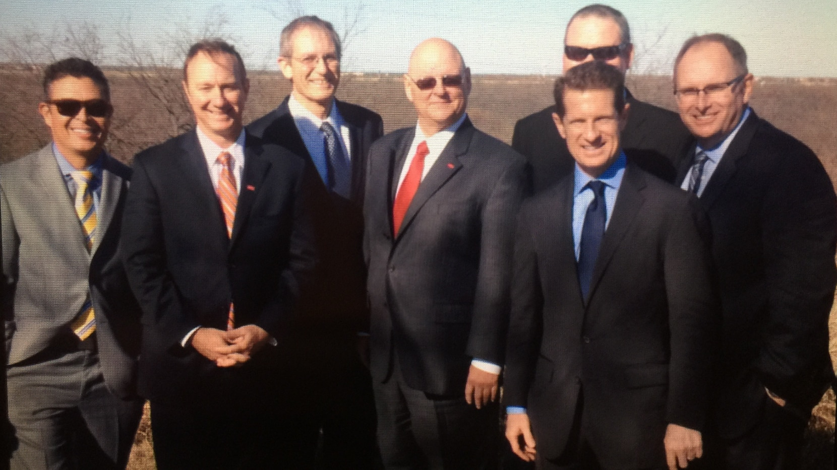 """From left to right: L-R Tony Martinez, David Ovard, George Purefoy, James Gandy, Jason Hase, Darrell Crall and Mark Harrison gathered for  a photo after their Dec. 15, 2014 """"Project PGA"""" meeting in Frisco."""